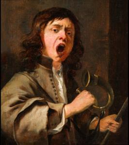 Gillis van Tilborgh: Een jonge hoornblazer. Floris van Wanroij Fine Art, Dommelen